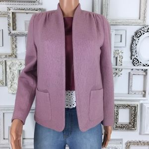 Vintage Lilac Wool Open Front Blazer Coat